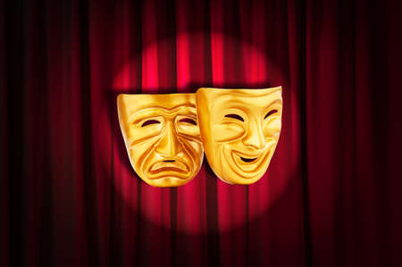 curtain theatre: Theatre performance concept with masks Stock Photo