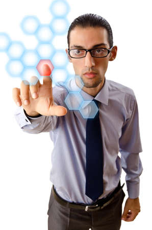 Businessman pressing virtual buttons Stock Photo - 13063212