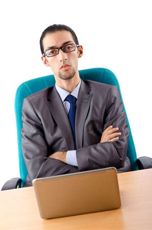 Businessman sitting at the desk photo
