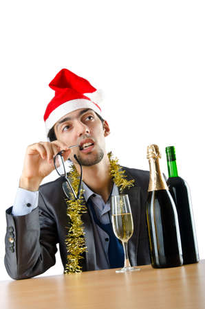 Drunk office worker after christmas party photo