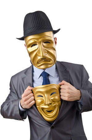 Businessman with mask concealing his identity Stock Photo - 13015407