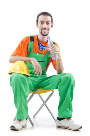 Construction worker isolated on white Stock Photo - 13063190