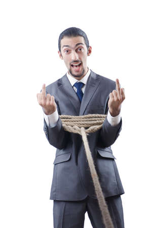 Businessman tied with rope Stock Photo - 13063198