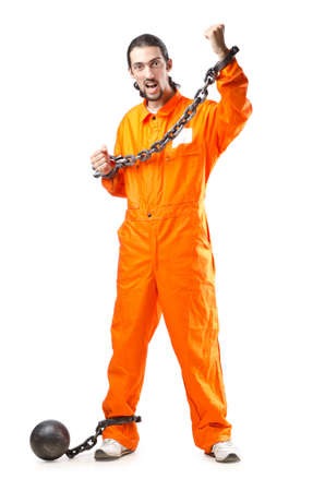 Criminal in orange robe in prison Stock Photo - 13063177
