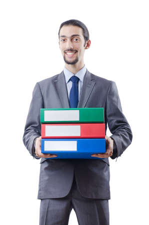 Businessman with many folders on white photo