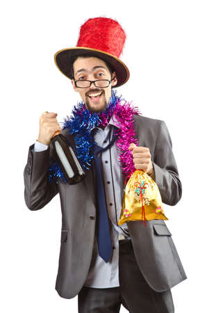 Clown businessman isolated on the white Stock Photo - 13063242
