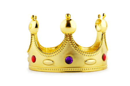 golden crown: Gold crown isolated on the white Stock Photo