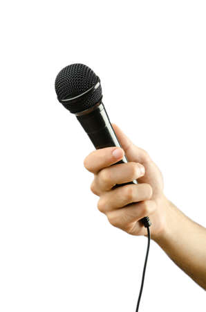 Hand holding microphone on white Stock Photo - 13225184