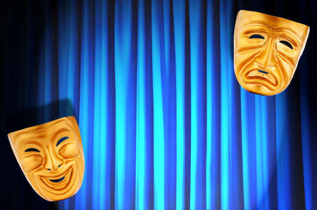 theatre masks: Theatre performance concept with masks Stock Photo