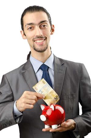 Piggybank and man on white Stock Photo - 13253744