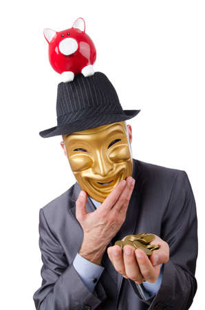 Man with piggybank on white photo