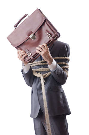 office slave: Businessman tied with rope Stock Photo