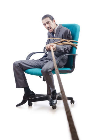 trapped: Businessman tied with rope Stock Photo