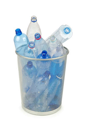 pollution water: Empty plastic water bottles on white Stock Photo