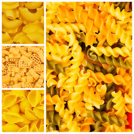 Set of various pasta backgrounds photo