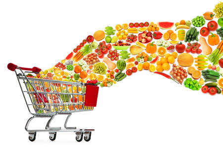 Food products flying out of shopping cart photo