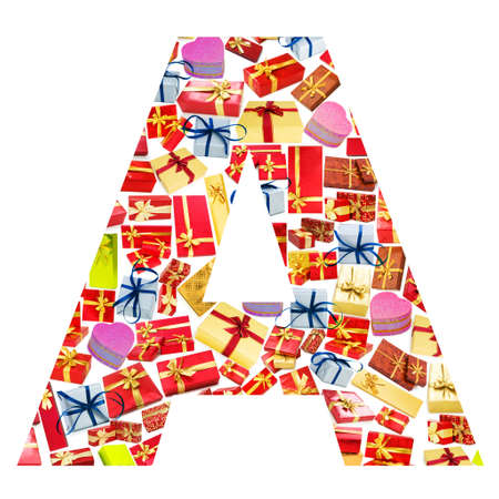A Letter - Alphabet made of giftboxes photo