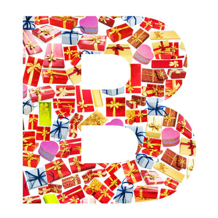B Letter - Alphabet made of giftboxes photo