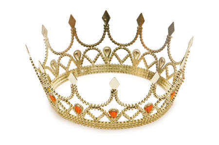 king crown: Gold crown isolated on the white Stock Photo