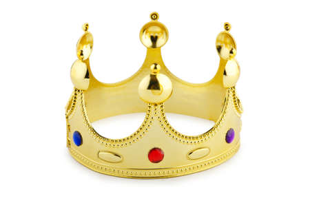 Gold crown isolated on the white Stock Photo - 13309086