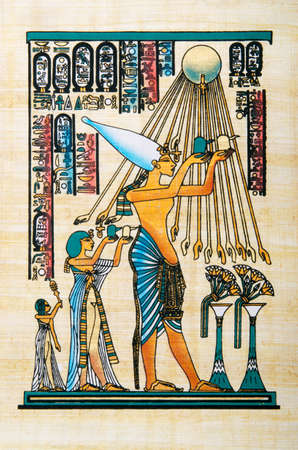 hieroglyphics: Egyptian history concept with papyrus Editorial