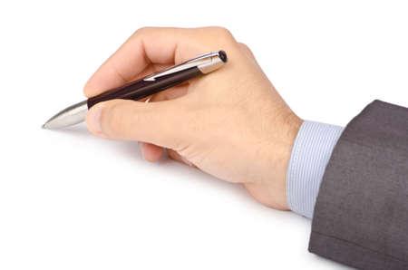 pluma y papel: Concepto de negocio con la escritura a mano sobre fondo blanco