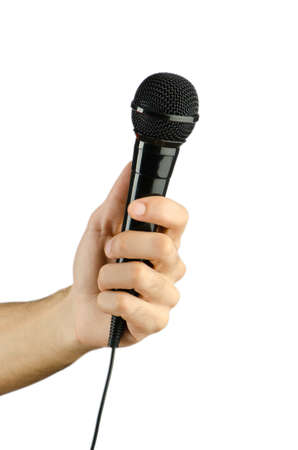Hand holding microphone on white Stock Photo - 13309133