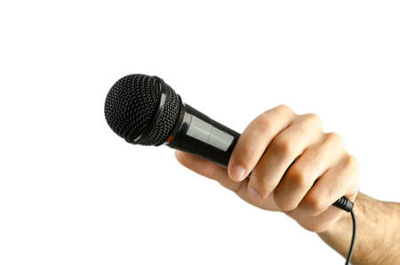 Hand holding microphone on white Stock Photo - 13309145