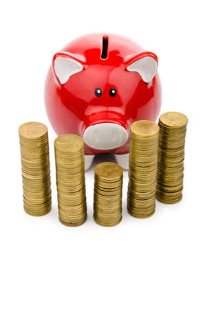 Piggy bank and coins isolated on white Stock Photo - 13303972