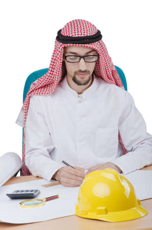 Young arab architect isolated on white photo