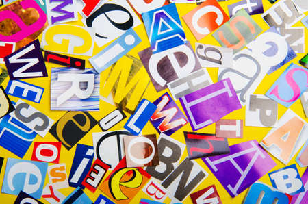 Newspaper clippings with various letters Stock Photo - 13303493