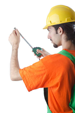 Worker with measuring tape on white Stock Photo - 13308961