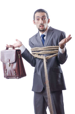 Businessman tied with rope Stock Photo - 13309019
