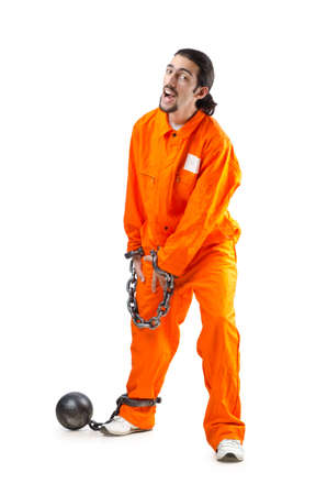 Convicted criminal on white background Stock Photo - 13309148