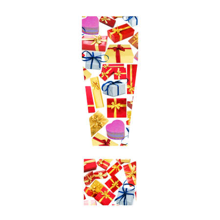 Exclamation mark - Alphabet made of giftboxes Stock Photo - 13309089