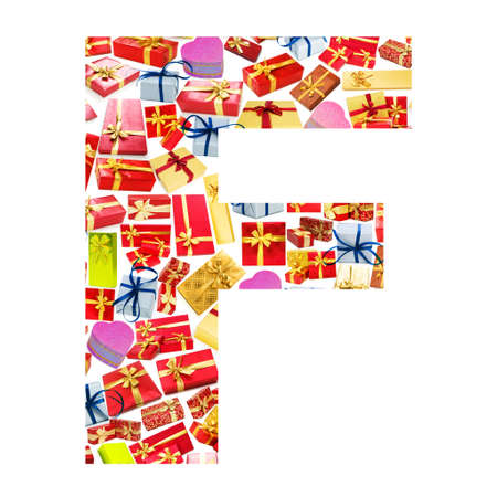 F Letter - Alphabet made of giftboxes photo