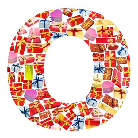 O Letter - Alphabet made of giftboxes Stock Photo - 13303644