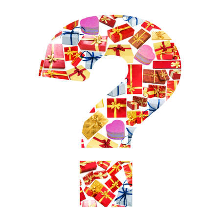 Question mark - Alphabet made of giftboxes Stock Photo - 13304045