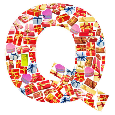 Q Letter - Alphabet made of giftboxes Stock Photo - 13303575