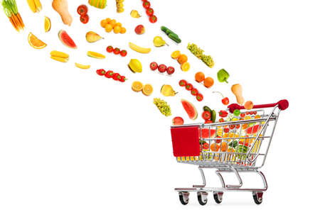Food products flying out of shopping cart Stock Photo - 13309047