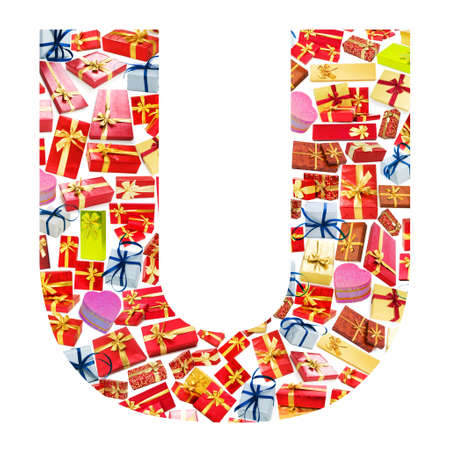 U Letter - Alphabet made of giftboxes photo