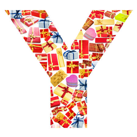 Y Letter - Alphabet made of giftboxes Stock Photo - 13303774