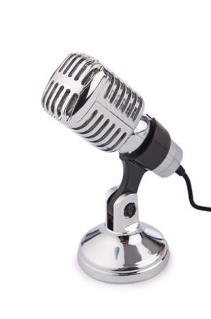 micro recording: Retro vintage microphone isolated on white Stock Photo