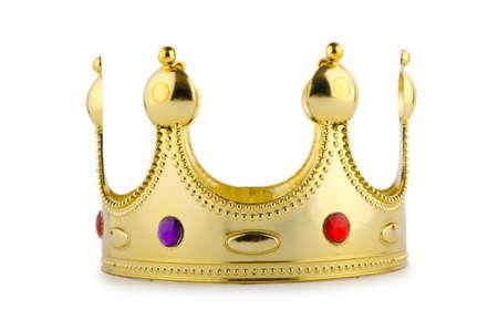 corona reina: Corona de oro aislado en el blanco