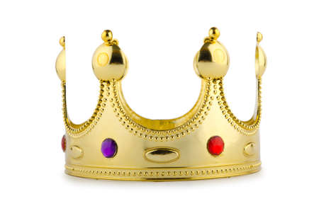 Gold crown isolated on the white photo