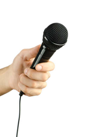 Hand holding microphone on white Stock Photo - 13415365