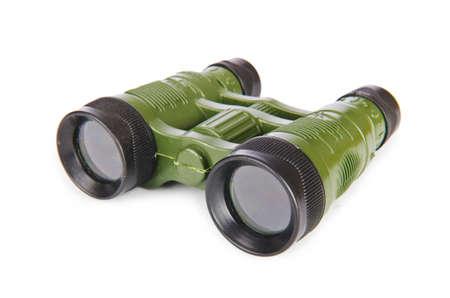 discreto: Prism�ticos militares aislados en blanco Foto de archivo