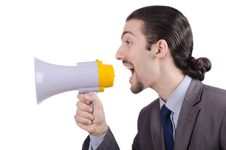 Man shouting and yelling with loudspeaker Stock Photo - 13630379