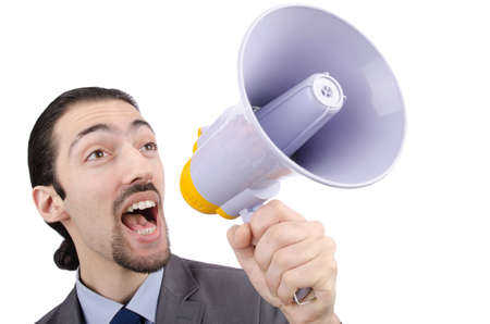 Man shouting and yelling with loudspeaker photo