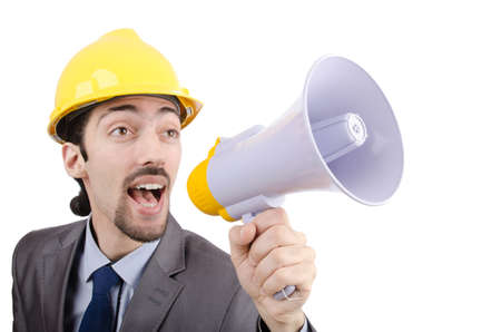 Man shouting and yelling with loudspeaker Stock Photo - 13630380